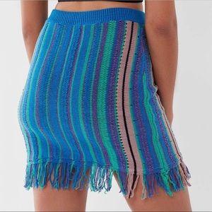 URban Outfitters Fringe Effect Striped Mini Skirt